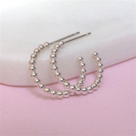 silver beaded hoop earrings by xissjewellery