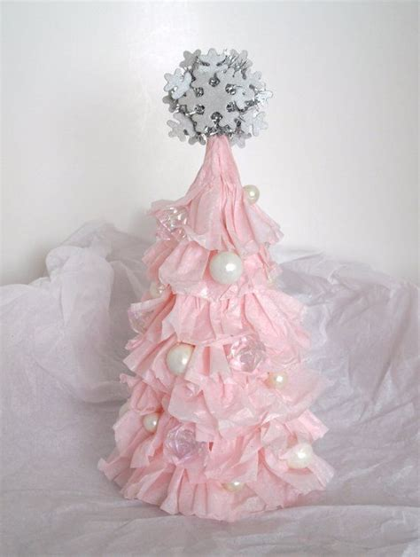 small shabby chic ruffled light pink christmas tree