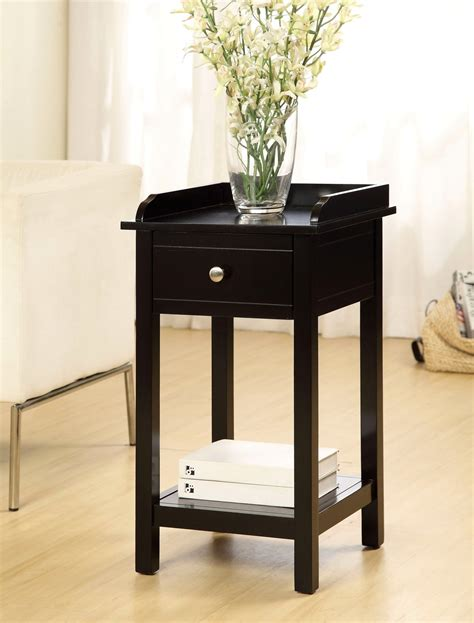 black accent table with drawer voula contemporary black accent table with drawer
