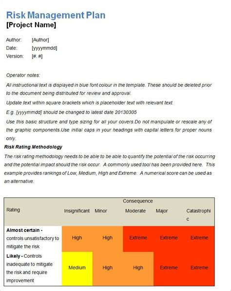 risk management plan template 13 risk management plan templates word excel pdf
