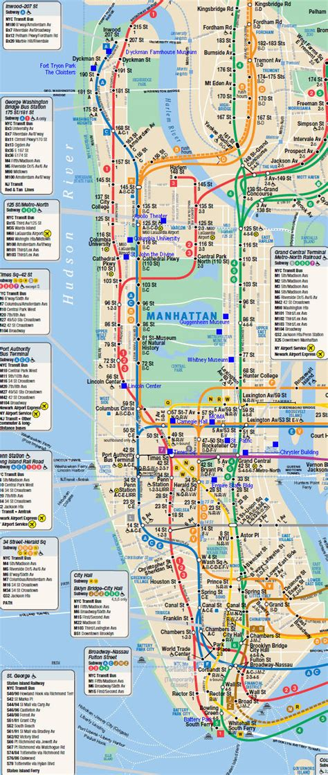 subway map in nyc large detailed subway map of manhattan manhattan large