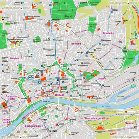 printable map with pins pin frankfurt germany places cities downtown am main on