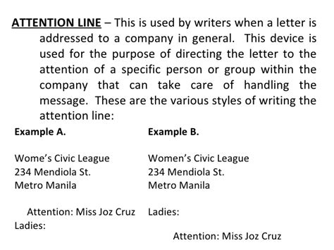 sle of business letter with attention line basic and miscellaneous parts of business letter