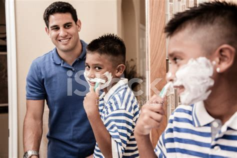 dad in bathroom family time single dad and son quot shaving quot in home stock