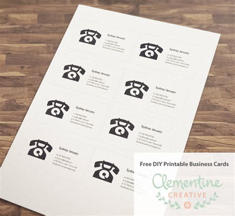 Free Diy Printable Business Card Template Diy Cards Template