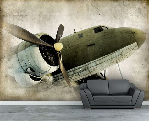 wall mural retro propeller airplane wall paper wall decal