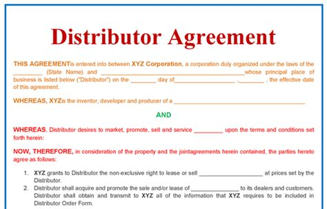 Exclusive Distribution Agreement Template Free Download Distributor Agreement Templates Sole Supplier Agreement Template