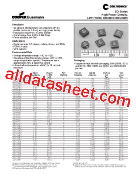4r7 inductor datasheet sd12 4r7 datasheet pdf list of unclassifed manufacturers