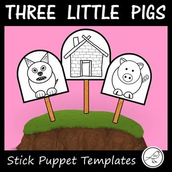 the three little pigs stick puppet templates 3 little