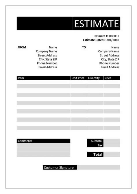 Free Estimate Templates Download In Word Excel Pdf Invoice Genius Estimate Template For Contractor