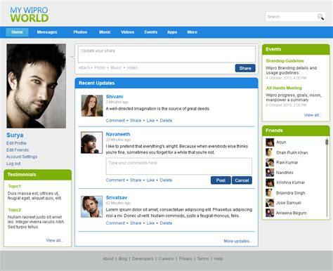 Websites By Bhanu Shankar At Coroflot Com Social Media Site Template