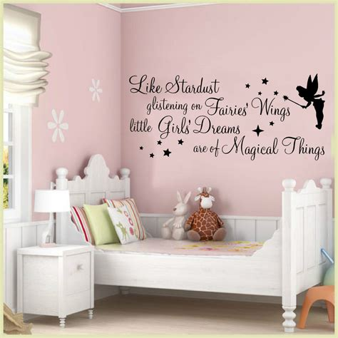 girls bedroom wall decor wall art stickers quotes stardust glistening fairy girls