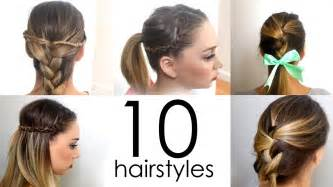 Quick Easy Hairstyle by 10 Quick Amp Easy Everyday Hairstyles In 5 Minutes Youtube