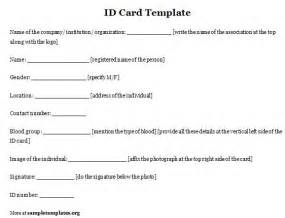 id template card template for id sle of id card template sle