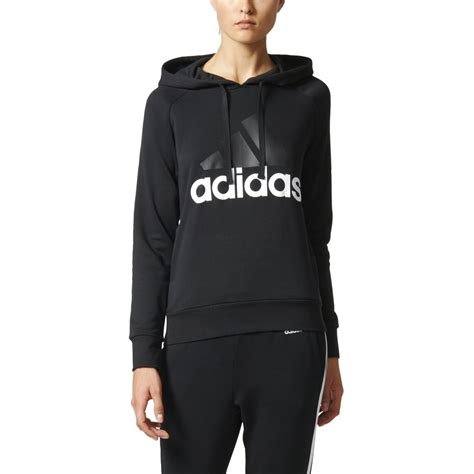 Sweater Black Addidas Basic adidas s essentials linear pullover hoodie black