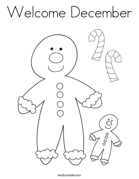 Welcome December Coloring Page Twisty Noodle December Coloring Page
