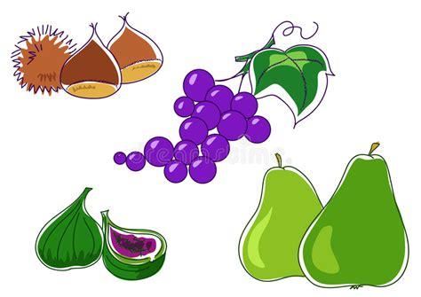 clipart castagne pere delle castagne fico dell uva illustrazione