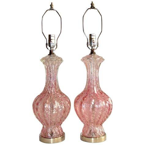 pink murano glass l pair of pink murano glass ls for sale at 1stdibs