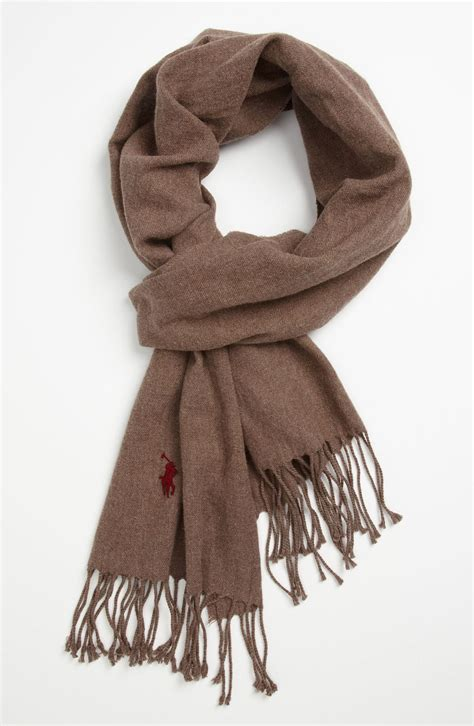 polo ralph peached cotton flannel scarf in gray for