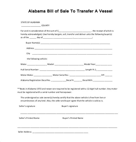 free printable boat bill sale free printable bill of sale for boat