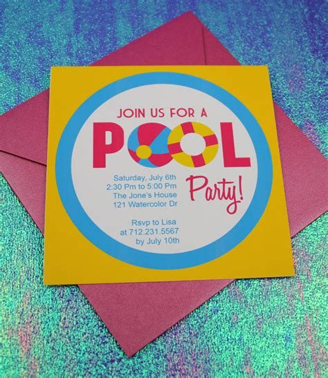 invitation template pool with design print