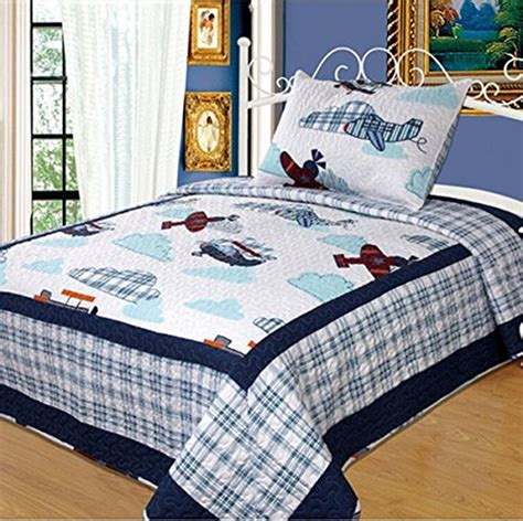 boy bedding sets full norson children patchwork quilt cartoon airplane bedding