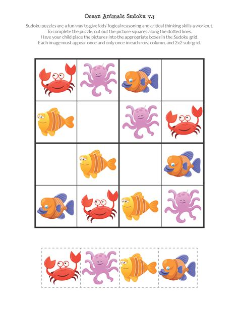printable ocean puzzles ocean animals sudoku puzzles free printables gift of