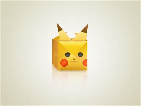Origami Pikachu Box - unique dribbble artwork for design tickle