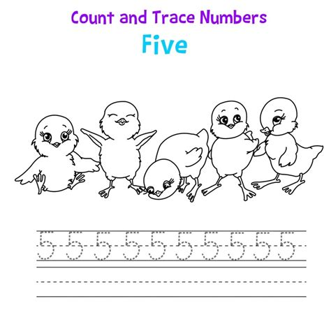 printable tracing number 5 5 tracing worksheet for preschool learning printable