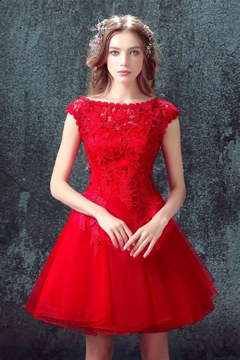 Red Lace Homecoming Dresses 2017 Cheap Tulle Short Party Gowns with Puffy Skirt $99 Dresses