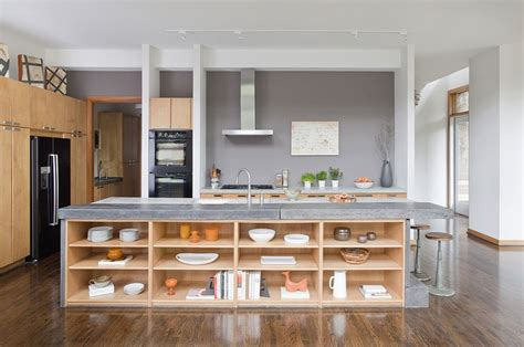 kitchen island with open shelves kitchen island in stone and concrete with open wooden
