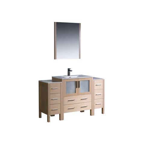 Oak Vanity Light Fresca Torino 54 In Vanity In Light Oak With Ceramic Vanity Top In White With White Basin And