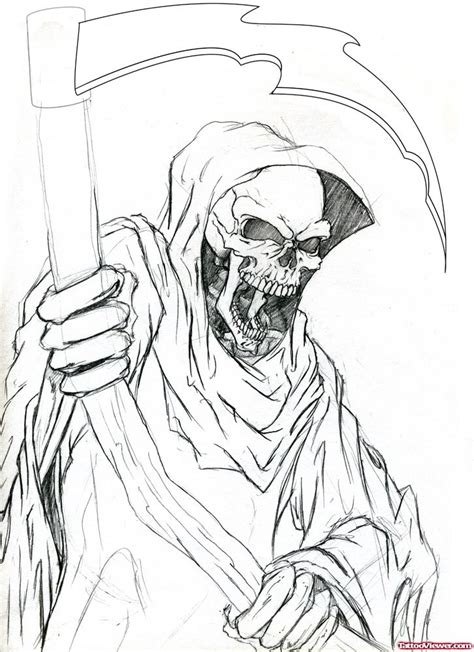 grim reaper tattoos designs free best outline grim reaper design viewer