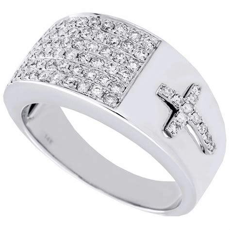 diamond cross pinky ring mens  white gold engagement