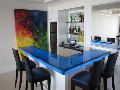 modern bar tops back lit blue glass bar contemporary kitchen miami