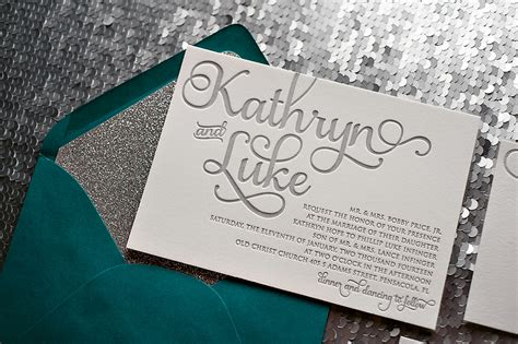 Silver And Teal Wedding Invitations