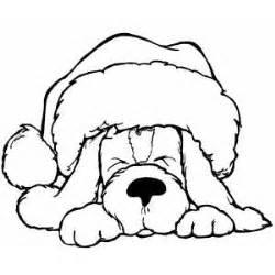 sleeping dog santa hat coloring