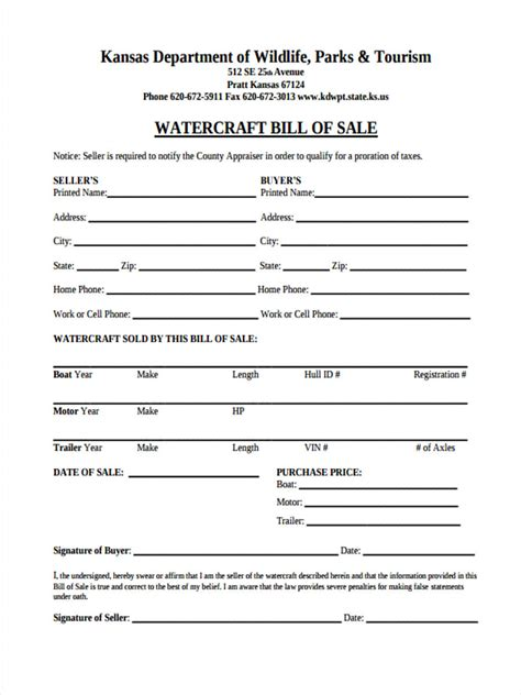 30 Sle Bill Of Sale Forms Personal Watercraft Bill Of Sale Template