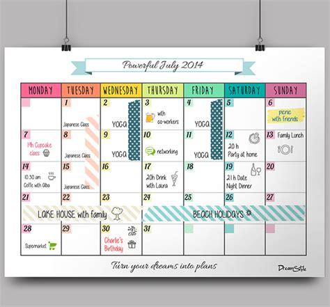 calendar monthly planner printable