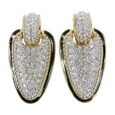 Earrings Clip On Earrings daniel swarovski encrusted dangle clip on earrings