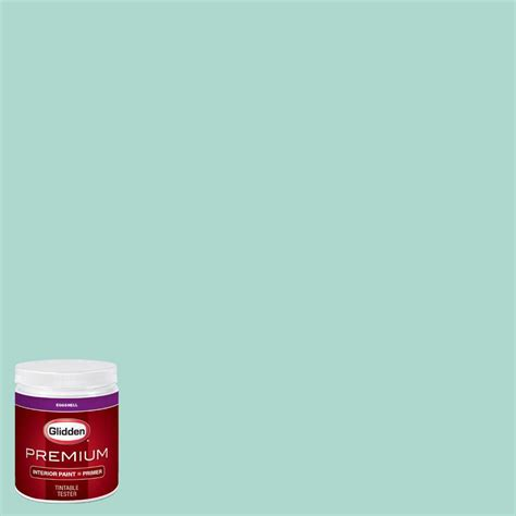 glidden premium 8 oz hdgb06 washed teal eggshell interior paint with primer tester hdgb06p