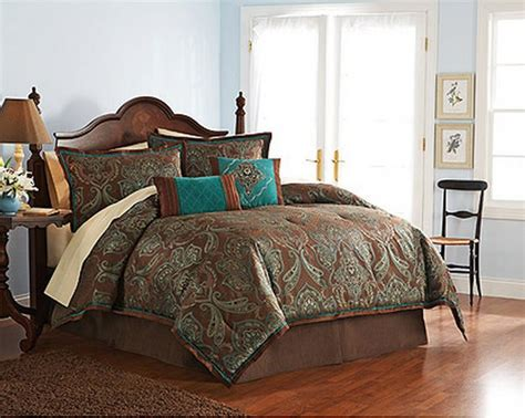 4 pc full teal brown turquoise blue jacquard paisley