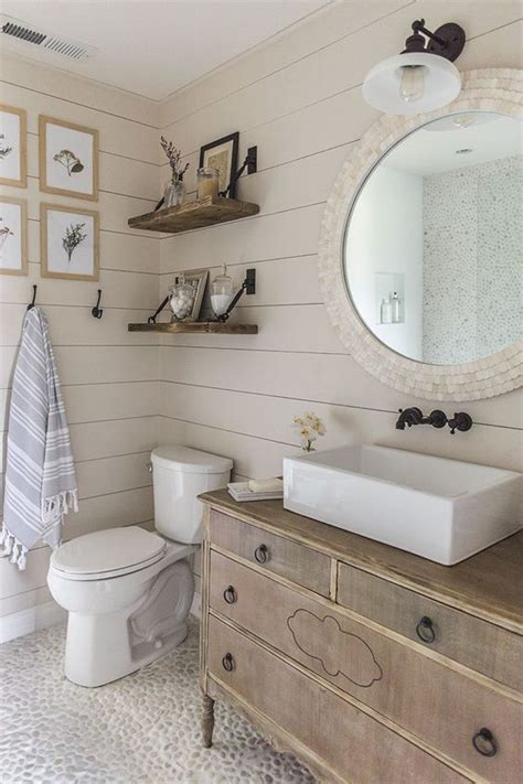 Shiplap On Bathroom Walls 34 Rustic Bathroom Vanities And Cabinets For A Cozy Touch