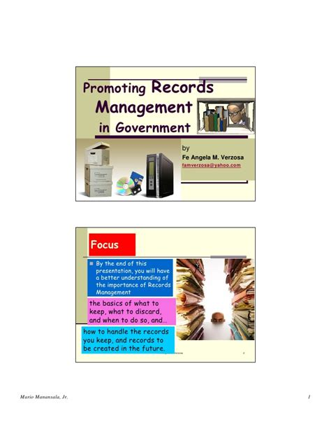 Government Records Promoting Records Management In Government