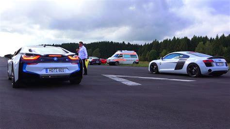 Bmw I8 Audi R8 by Bmw I8 Vs Audi R8 Plus Drag Race 550plus Club Acceleration