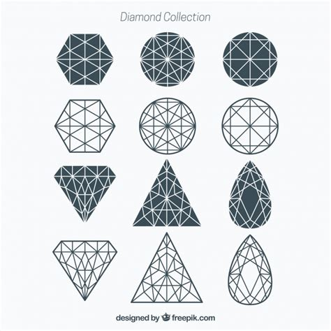 geometric diamond collection vector free download