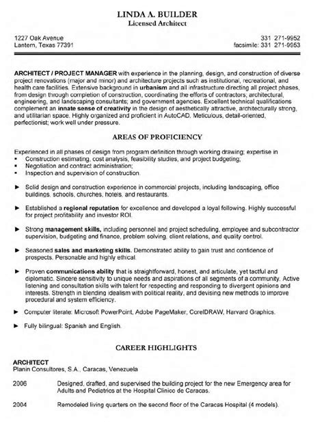 Resume Template Architect Architect Resume Resume Cv Template Exles