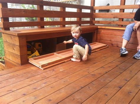 deck bench with storage redwood deck with built in benches and storage yelp