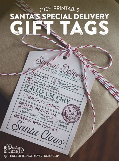 free printable gift tags signed by santa freebies archives three little monkeys studio