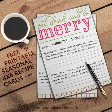 drink recipe card template free eat drink and be merry recipe card template